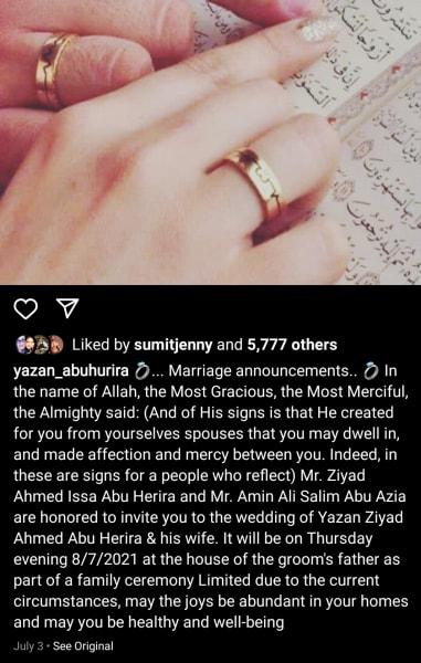 Yazan Abo Horira IG wedding invitation (eng translation)