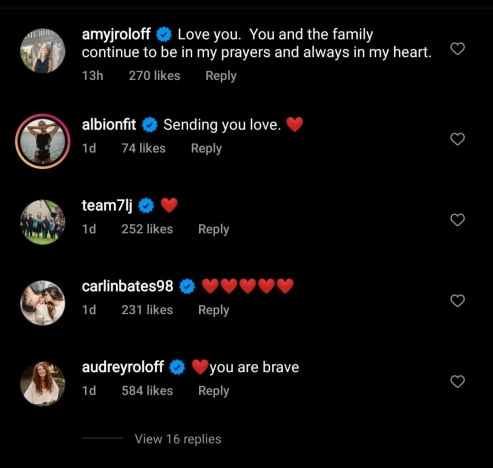 Audrey Roloff IG comment tells Tori you are brave
