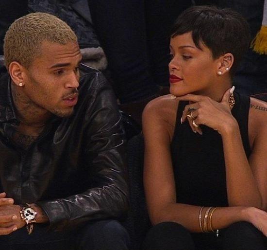 Chris Brown and Rihanna Courtside