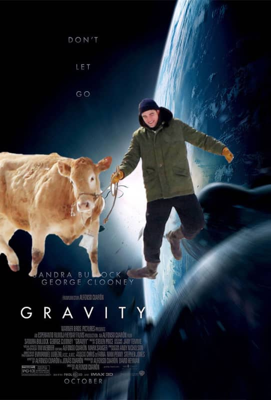 Robert Pattinson and Cow in Gravity