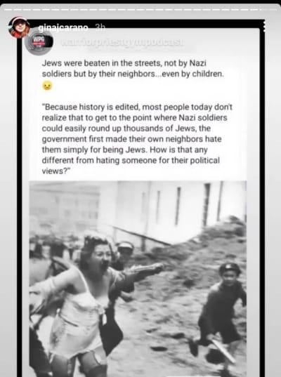 Gina Carano IG compara la responsabilidad conservadora con el Holocausto