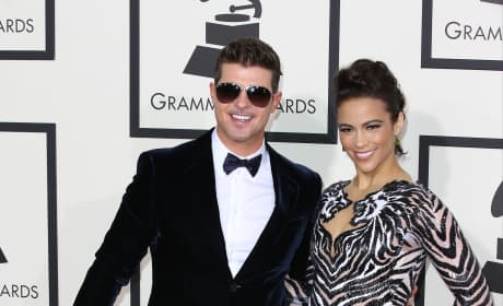 Robin Thicke and Paula Patton at the Grammys