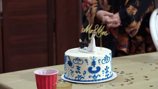 Betty Gibbs unveils a second, unwanted (wedding) cake