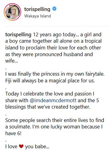 Tori Spelling Anniversary Post 2
