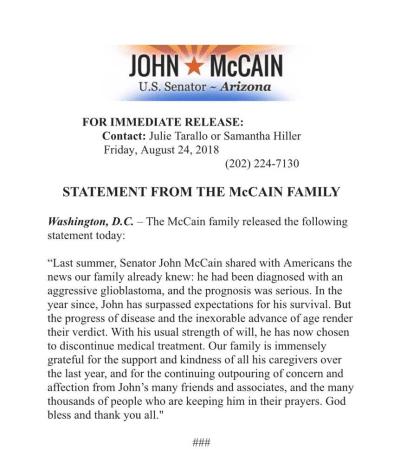 John McCain stattement