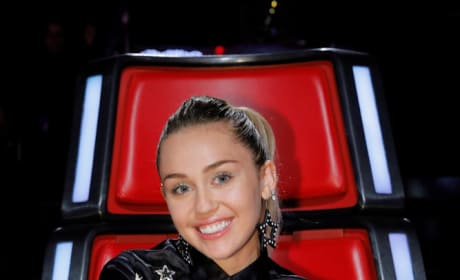 Miley Cyrus Smiles on The Voice