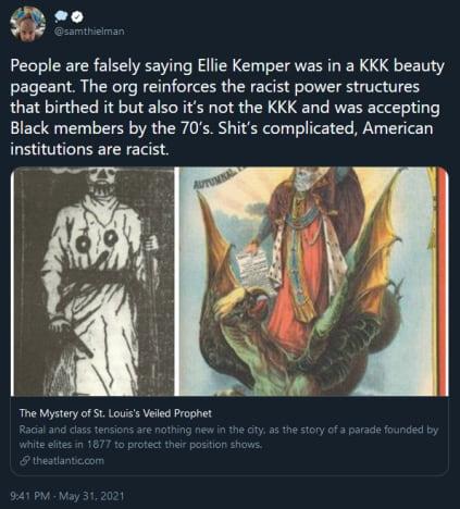 Ellie Kemper tweet with nuanced explanation of Veiled Prophet ball