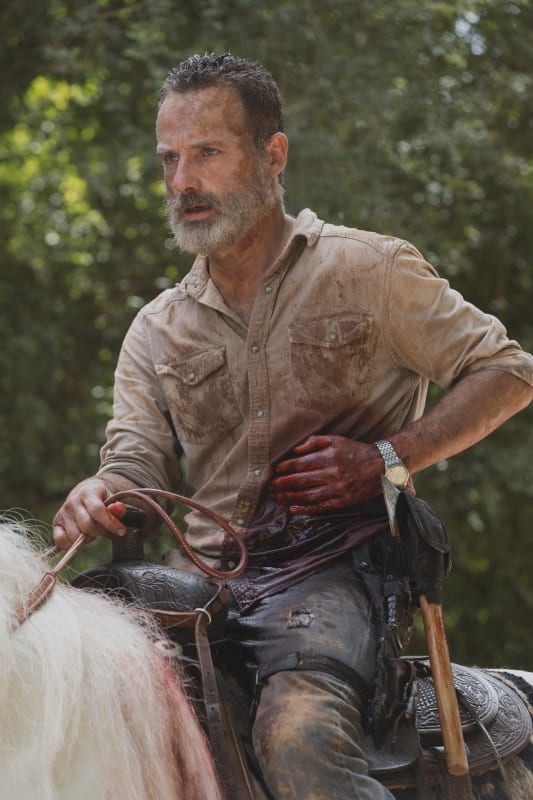A wounded rick grimes
