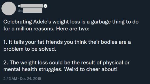 tweet - célébrer la perte de poids d'Adele est une ordure