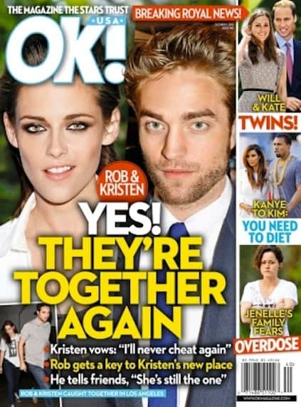 Robert Pattinson and Kristen Stewart Tabloid Cover