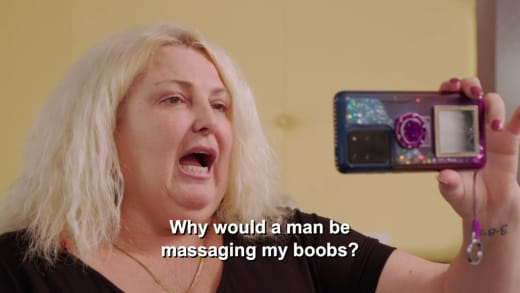 Michael Ilesanmi to Angela Deem - why would a man be massaging my boobs?