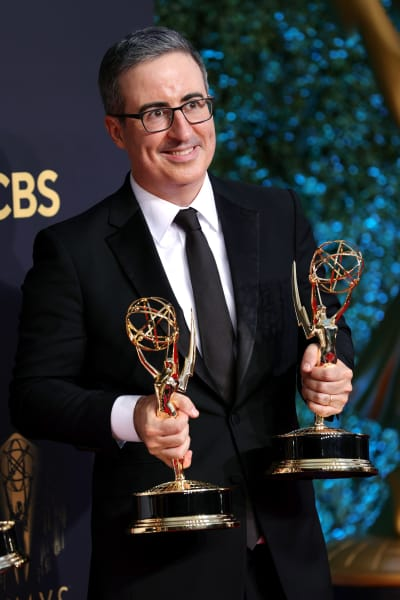 John Oliver With Two Emmys