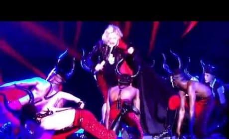 Madonna Falls at Brit Awards