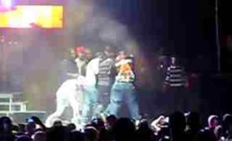 Drake Falls on Stage