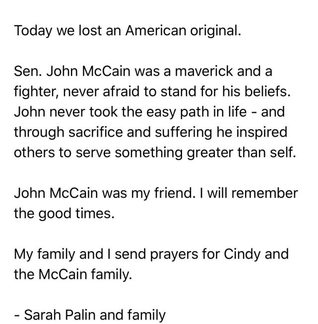 John McCain: Read The Tributes In His Honor