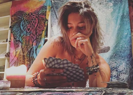 Paris Jackson, Topless with Cards