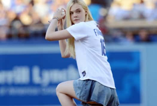 Elle Fanning Throws Out First Pitch, Shames 50 Cent With Perfect Strike - The Hollywood Gossip