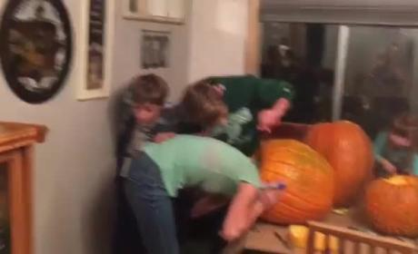 Girl Sticks Head Inside Pumpkin, Regrets It