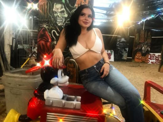 Ariel Winter, White Bikini Top at the Pumpkin Patch