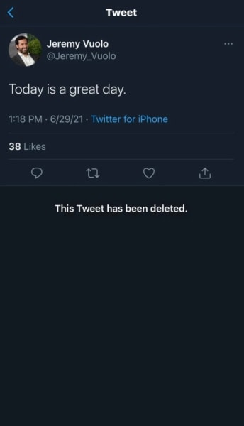 Jeremy Vuolo deleted tweet - this is a great day