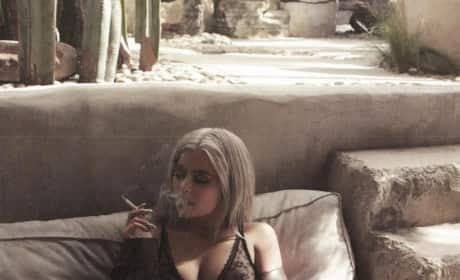 Kylie Jenner: Lingerie and Smoking