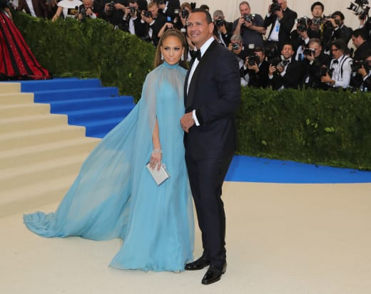 Jennifer Lopez and Alex Rodriguez at 2017 MET Gala