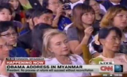 Clinton Falls Asleep During Obama Speech in Myanmar