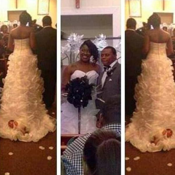 Baby Tied to Wedding Dress