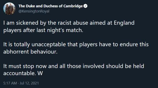 prince william tweet condemns sports racism (darkmode)