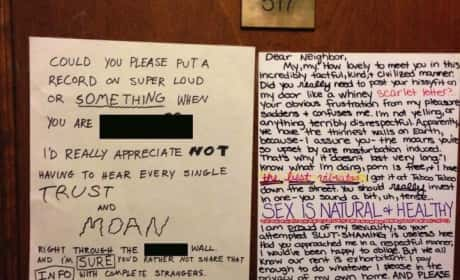 Neighbors Argue About Sex in Notes on Door