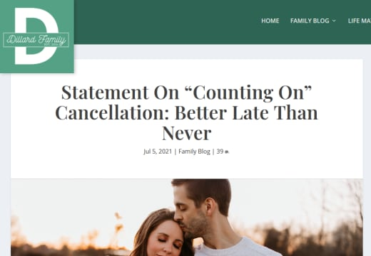 Jill Duggar and Derick Dillard site statement on Counting On cancelation