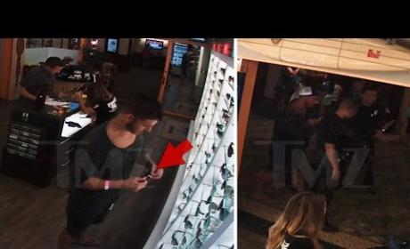 Jax Taylor Steals Sunglasses in Front of Security Camera, Remains a Moron