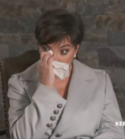 Kris Jenner with a Tissue