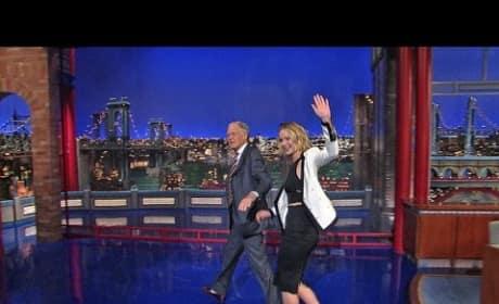 Jennifer Lawrence and David Letterman Walk Off Set