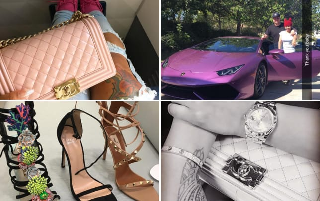 Blac chyna shows off a pink chanel bag