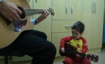 Toddler Sings Duet of The Beatles with Guitar, Dad