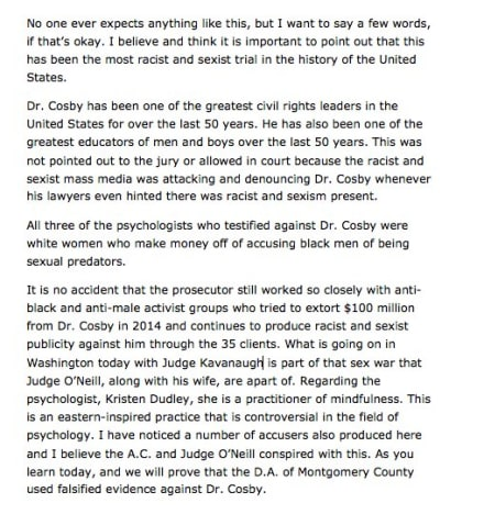Bill Cosby statement