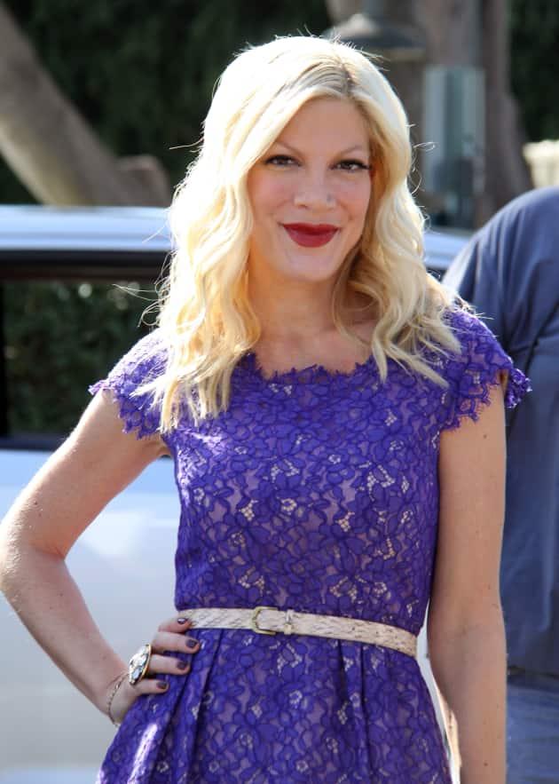 Tori Spelling in Purple