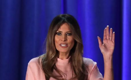 Melania Trump Waves to Fans