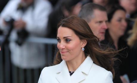 Kate Middleton, 7 months pregnant, in Portsmouth UK