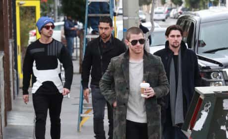 Nick and Joe Jonas Grab Coffee With Wilmer Valderrama