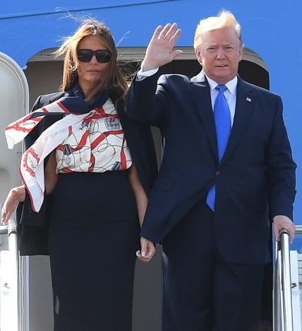 Donald Trump y Melania Trump en el aeropuerto