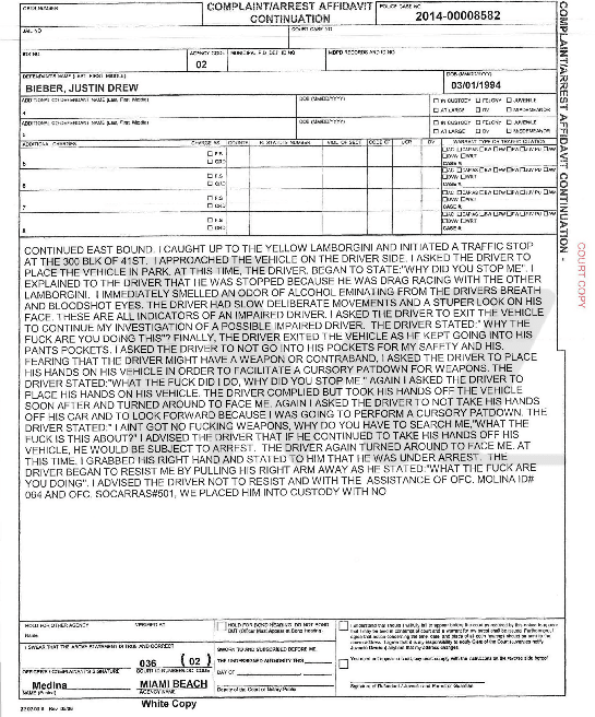 Justin Bieber Police Report, Page 2