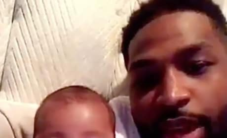 Tristan Thompson Cuddles Baby True, Tries to Show World He's Good Dad