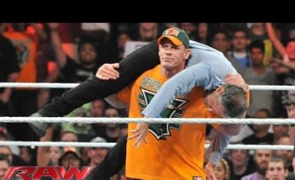 """John Cena Gives Jon Stewart """"Attitude Adjustment"""" on Monday Night Raw"""