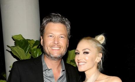 Gwen Stefani in Black with Blake Shelton