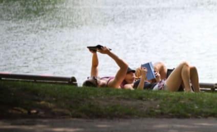 Jennifer Lawrence: Back Together With Nicholas Hoult! Reading Mockingjay at the Park!