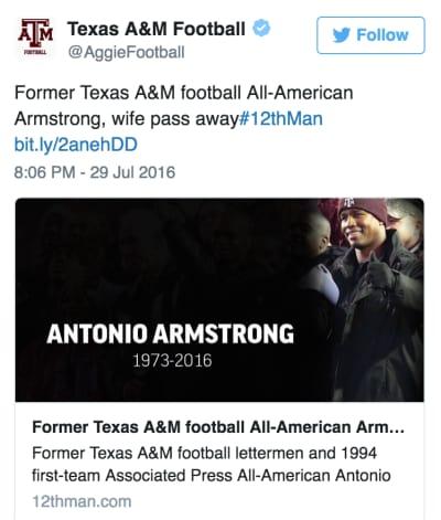 Antonio Armstrong tweet