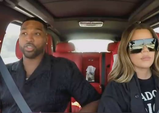 Tristan Thompson and Khloe Kardashian in Car