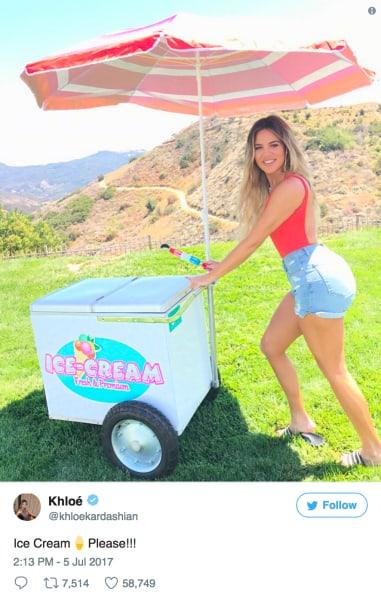 Khloe Kardashian and Ice Cream